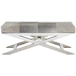 David Hollywood Regency Hair on Hide Stainless Steel Bench