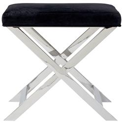 Alexander Hollywood Regency Steel Black Charcoal Velvet Steel Stool
