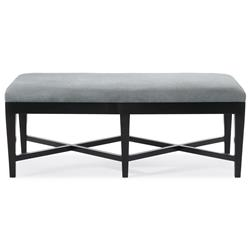 August Modern Classic Double X Light Grey Fabric Wood Bench