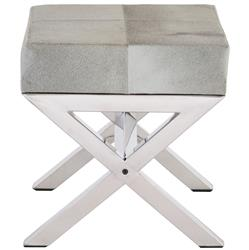 Gus Hollywood Regency Hair on Hide Stainless Steel Stool