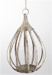 Rustic Metal Cottage Hanging Candle Lantern Pendant