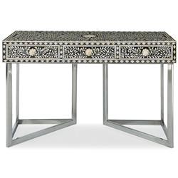 Carey Global Bazaar Stainless Steel Bone Mosaic 3 Drawer Desk