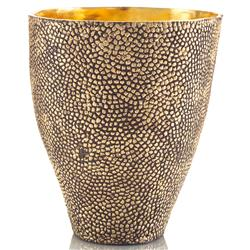 Cecile Hollywood Regency Hammered Antique Brass Gold Gloss Vase Bowl | JR-JRA-9218