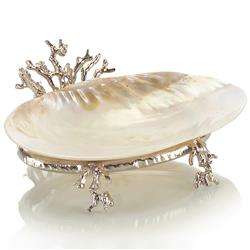John-Richard Rockaway Coastal Beach Polished Silver Coral Kabibi Shell Bowl