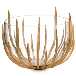 Malick Hollywood Regency Gold Leaf Spikes Clear Glass Bowl | JR-JRA-9633
