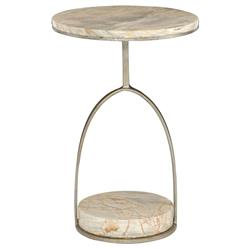 Geneva Modern Classic Round Marble Side End Table