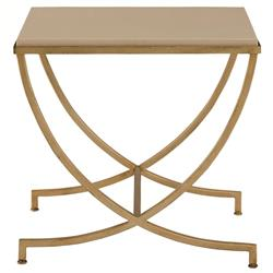 Flora Hollywood Regency Soft Gold Steel Stone Side End Table
