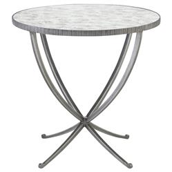 Justine Hollywood Regency Antique Mirror Round Side End Table