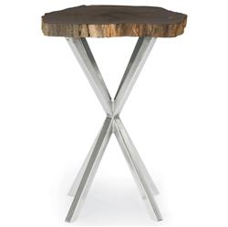 Pilar Industrial Loft Petrified Stone Galvanized Iron Side Table