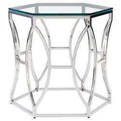 Marci Hollywood Regency Hexagon Polished Steel Side End Table