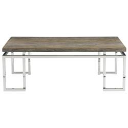 Rei Industrial Loft Grey Teak Wood Railroad Tie Coffee Table