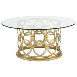 Antonia Hollywood Regency Round Gold Metal Coffee Table