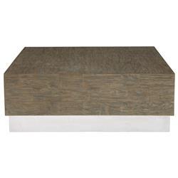 Lucius Industrial Loft Grey Teak Wood Polished Steel Coffee Table