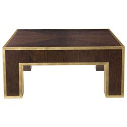 Valentine Hollywood Regency Brass Plated Walnut Coffee Table