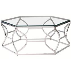 Marci Hollywood Regency Hexagon Polished Steel Coffee Table