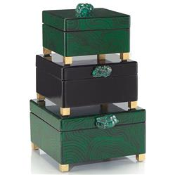 Bridget Hollywood Regency Malachite Green Black Lacquer Boxes - Set of 3