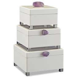 John-Richard Saldana Hollywood Regency White Lacquer Purple Amethyst Boxes - Set of 3