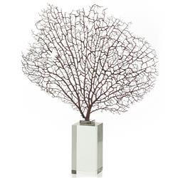 Springmaid Coastal Beach Sea Fan Glass Pedestal Sculpture - 17 Inch