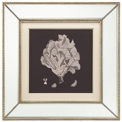 John-Richard Coral Bloom Coastal Beach Ivory Black Silhouette Mirror Frame Wall Art