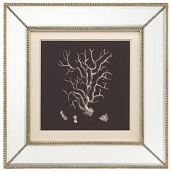 Coral Branch Coastal Beach Ivory Black Silhouette Mirror Frame Wall Art