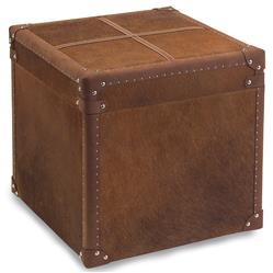 Bauer Rustic Lodge Brown Hide Leather Side Table Storage Ottoman
