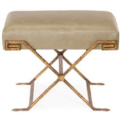 Wagner Hollywood Regency Antique Gold Sage Brown Leather Stool Ottoman