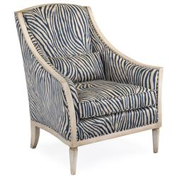 John-Richard Lapira Hollywood Regency Blue Ivory Zebra Weathered White Wood Armchair