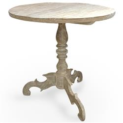 Mireille French Country Distressed White Reclaimed Pine Side End Table