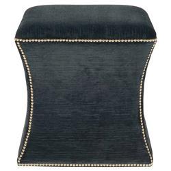 Clio Hollywood Regency Black Fabric Antique Nickel Nailhead Ottoman