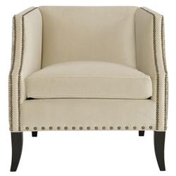 Kiara Hollywood Regency Mocha Wood Antique Nickel Beige Armchair