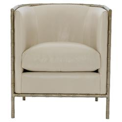 Perla Global Bazaar Cream Leather Metal Bamboo Armchair