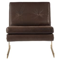 Trystan Industrial Loft Brown Leather Brass Living Room Chair