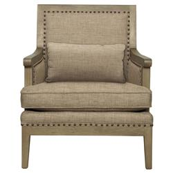 Kira French Country Driftwood Antique Brass Beige Armchair