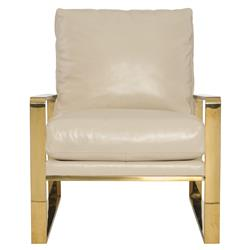 Brea Hollywood Regency Cream Leather Gold Metal Armchair