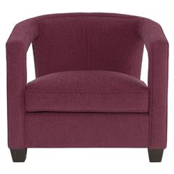 Rhea Hollywood Regency Bright Nickel Nailhead Purple Armchair