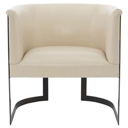 Maisie Modern Classic Cream Leather Metal Armchair