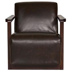 Ezra Industrial Loft Brown Leather Portobello Wood Armchair