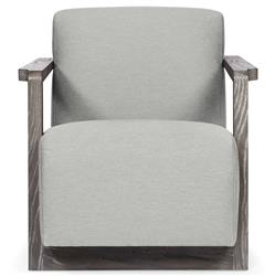 Ezra Industrial Loft Grey Fabric Portobello Wood Armchair