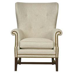Felipe Modern Classic Mocha Wood Beige Armchair