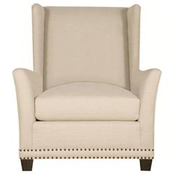 Kellen Hollywood Regency Wood Antique Brass Light Beige Wing Chair