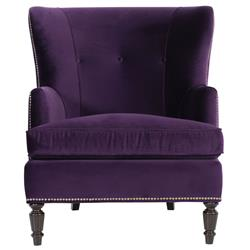 Nia Hollywood Regency Antique Nickel Nailhead Purple Armchair