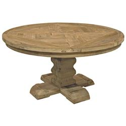 Romand French Country Reclaimed Elm Parquet Round Dining Table