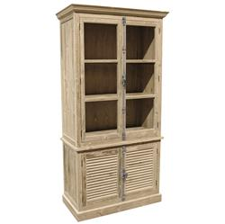 Dijon French Country White Wash Pine Plantation Shutter Doors Bookcase