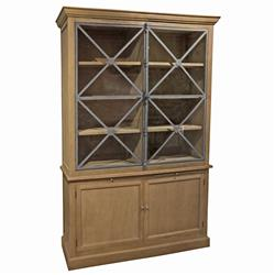 Ambert French Country Reclaimed Oak Cross Criss Display Cabinet