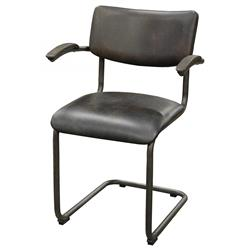 Stephen Industrial Loft Espresso Brown Leather Masculine Dining Chair