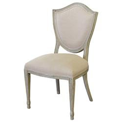 Darmon French Country Grey Birch Wood Ecru Linen Dining Chair