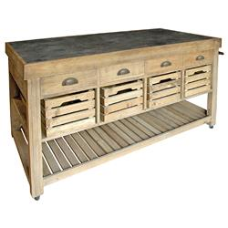 Marat French Country Reclaimed Pine Blue Stone 4 Crate Kitchen Island | HS-AH01
