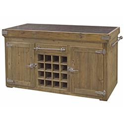 "Edmond French Reclaimed Pine Stone Stainless Steel 71""W Kitchen Island 
