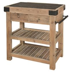 Nadar French Country Reclaimed Pine Blue Stone Block Kitchen Island | HS-AH68