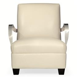 Rowan Modern Classic Ivory Leather Stainless Steel Armchair